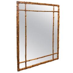 Architectural Faux Bamboo Campaign Style Midcentury Gilt Wall Mirror