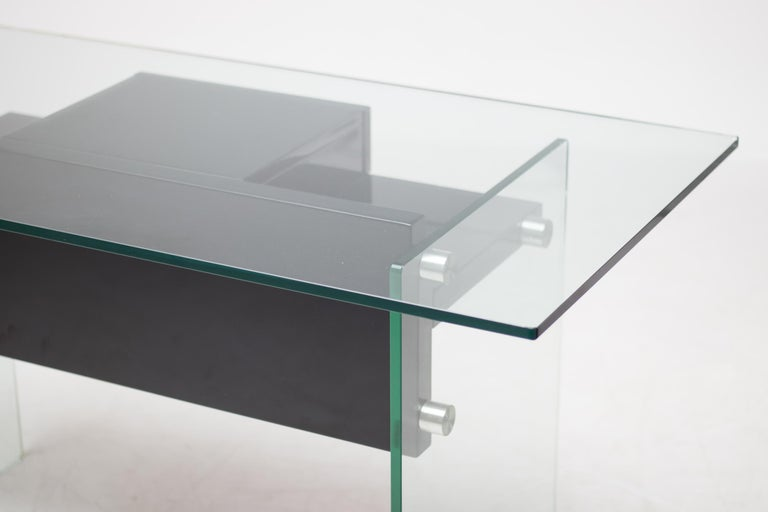 Stainless steel, Japanese gloss lacquered wood and glass desk, Xavier Marbeau designed similar desks in the 1970s.