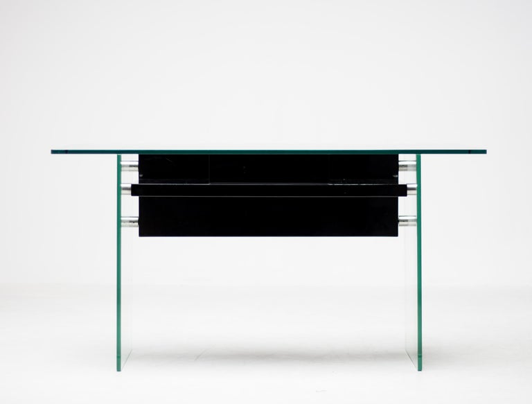 Modern Architectural Glass Desk For Sale