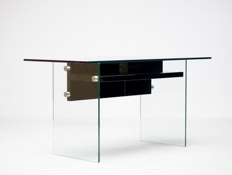 Lacquered Architectural Glass Desk For Sale