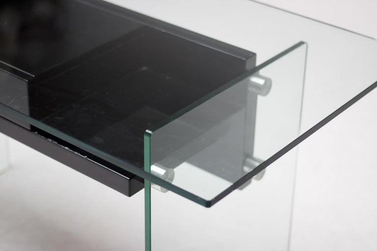Wood Architectural Glass Desk For Sale