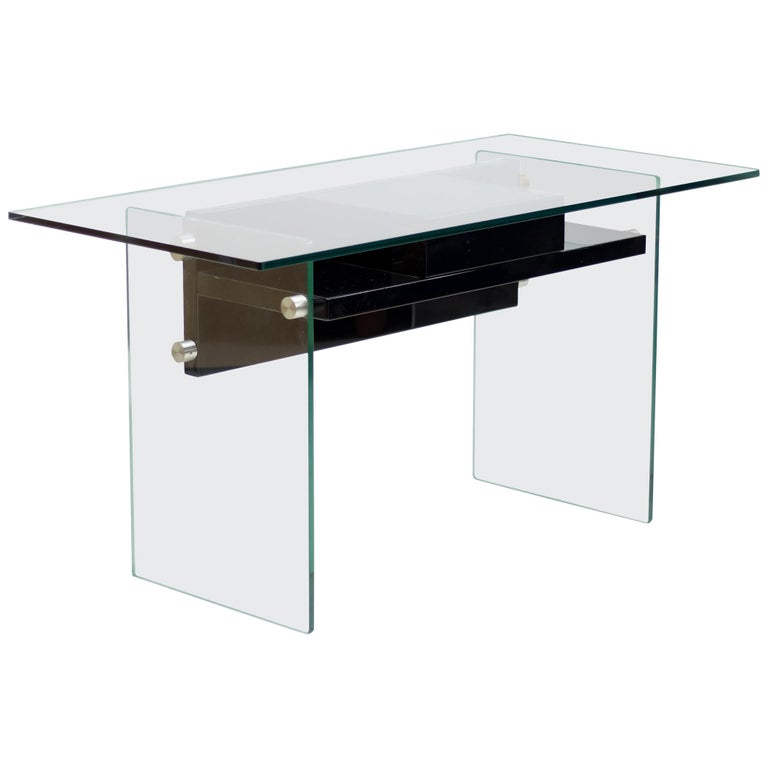 Architectural Glass Desk For Sale