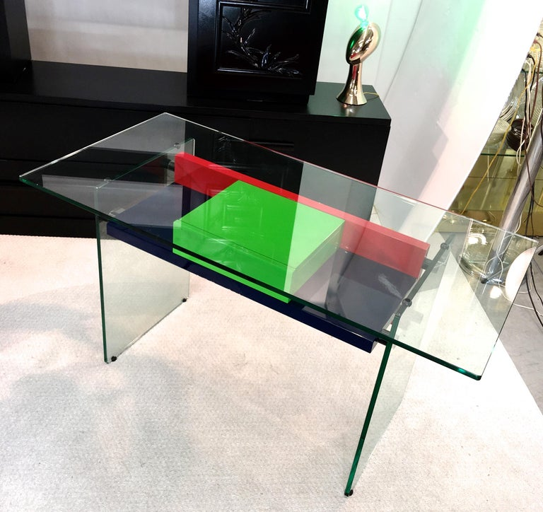 Architectural Glass and Lacquer Desk, France, 1970s For Sale 3