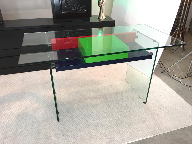 Architectural Glass and Lacquer Desk, France, 1970s For Sale 4