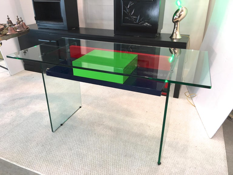 Architectural Glass and Lacquer Desk, France, 1970s For Sale 5