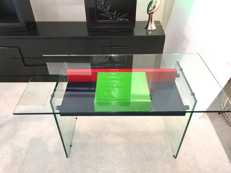 Architectural Glass and Lacquer Desk, France, 1970s For Sale 6