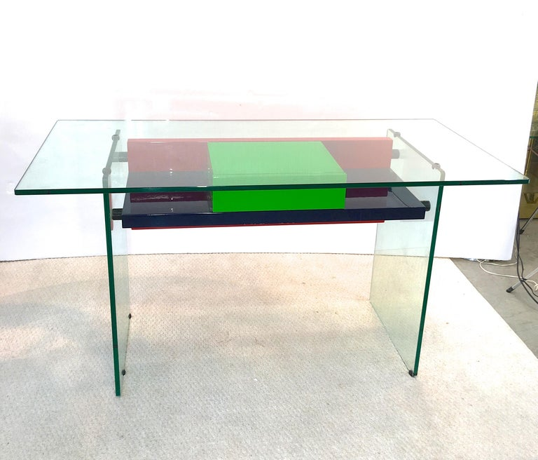 Architectural Glass and Lacquer Desk, France, 1970s For Sale 7