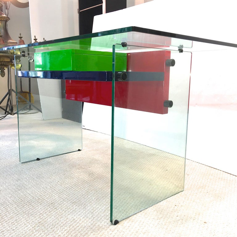 Architectural Glass and Lacquer Desk, France, 1970s For Sale 8
