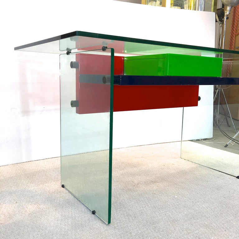 Architectural Glass and Lacquer Desk, France, 1970s For Sale 9
