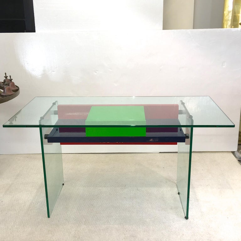 Mid-Century Modern Architectural Glass and Lacquer Desk, France, 1970s For Sale