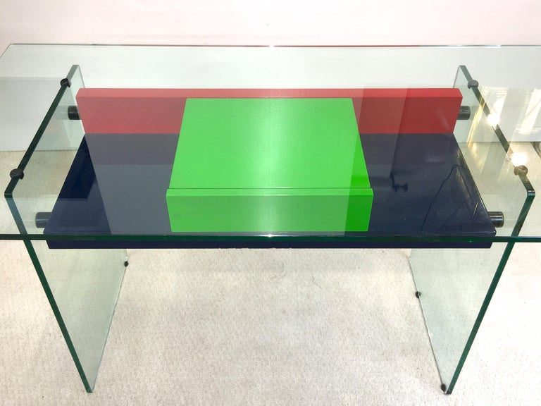 French Architectural Glass and Lacquer Desk, France, 1970s For Sale