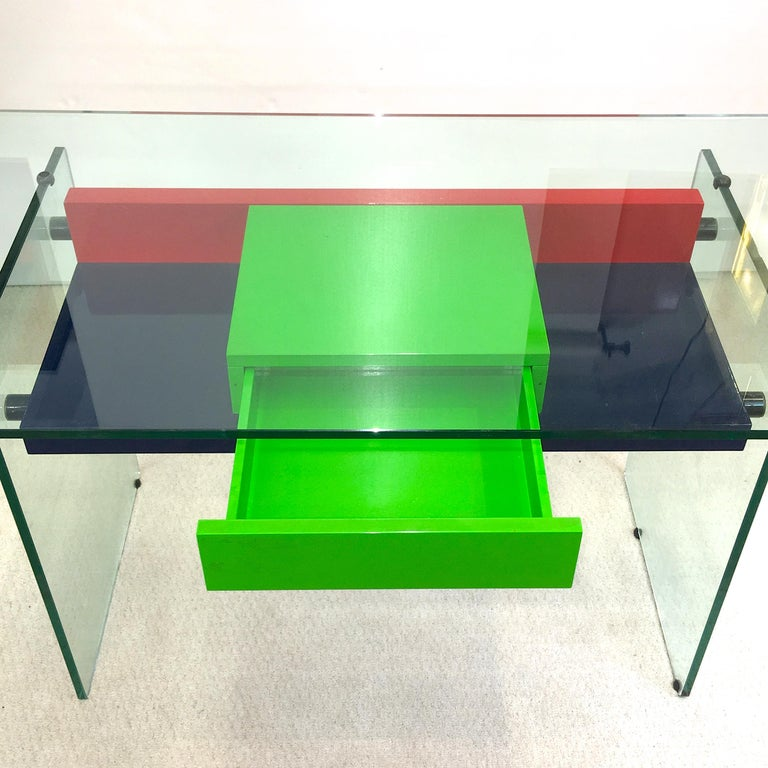 Architectural Glass and Lacquer Desk, France, 1970s In Good Condition For Sale In Hingham, MA