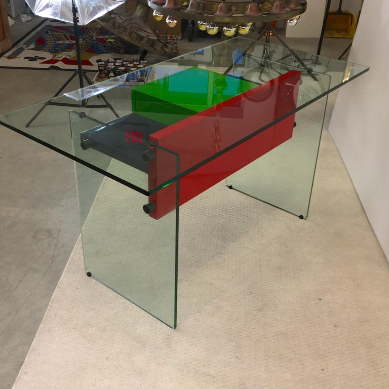 Stainless Steel Architectural Glass and Lacquer Desk, France, 1970s For Sale