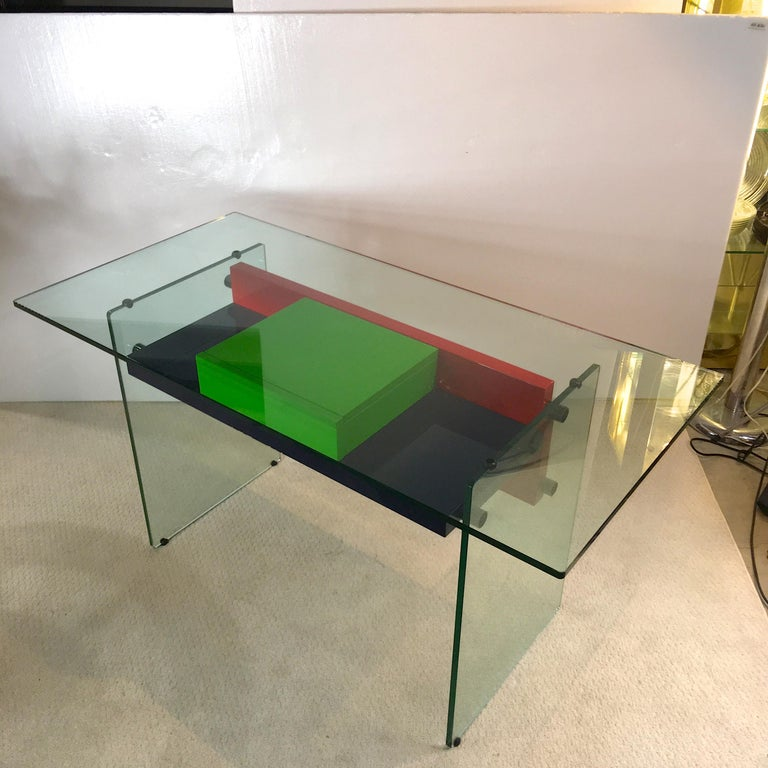 Architectural Glass and Lacquer Desk, France, 1970s For Sale 1