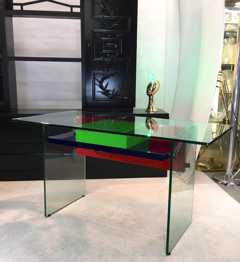 Architectural Glass and Lacquer Desk, France, 1970s For Sale 2