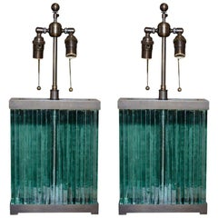 Architectural Glass Slab Lamps after Jean Michel Frank