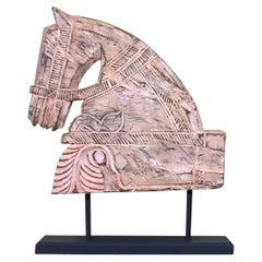 Architectural Hand Carved Wood Horse