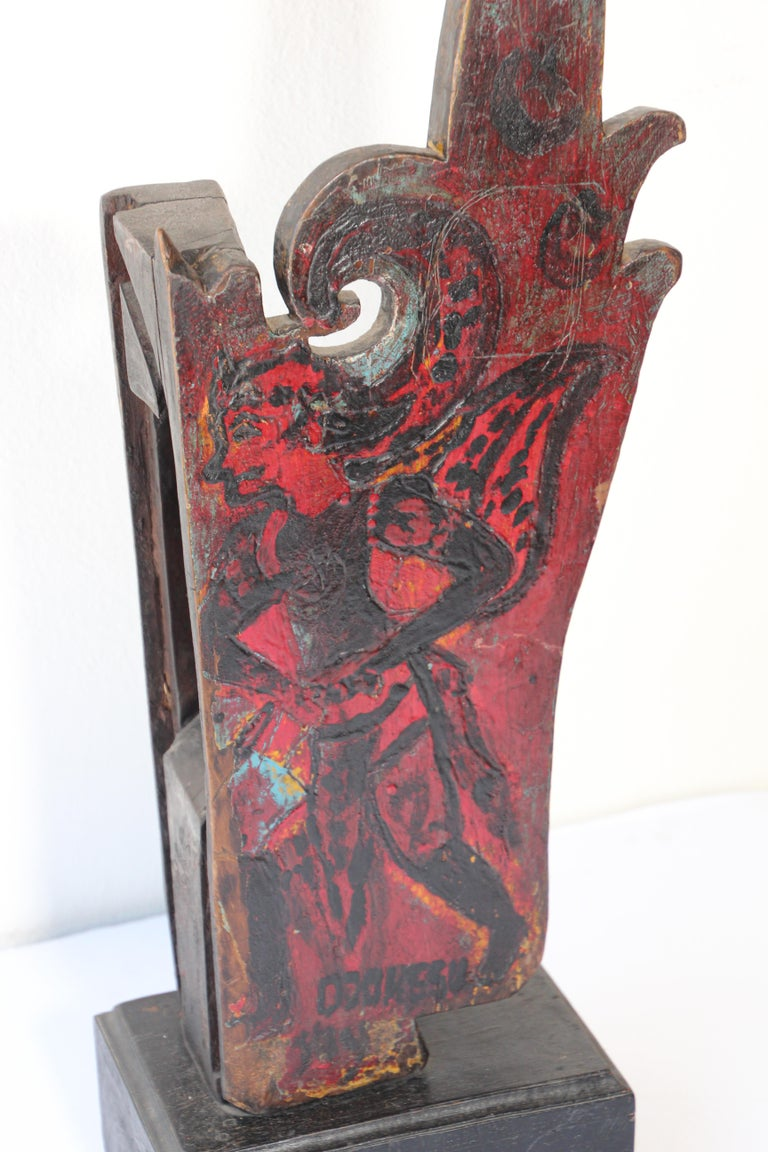 Architectural Hand Carved Wood Temple Fragment In Fair Condition For Sale In North Hollywood, CA