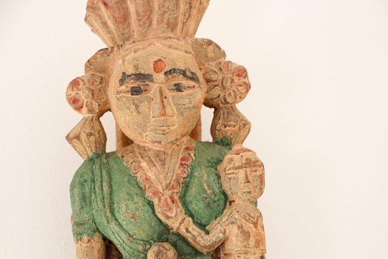 Architectural Hand Carved Wood Temple Sculpture of Mother and Child from India For Sale 3