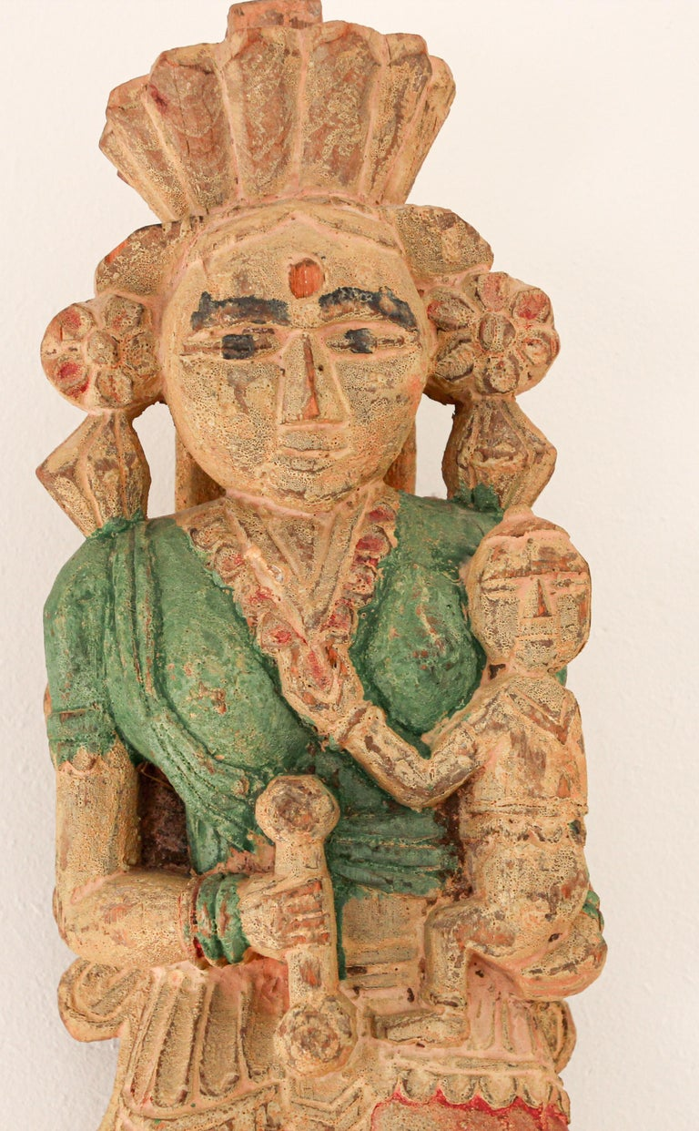 Architectural Hand Carved Wood Temple Sculpture of Mother and Child from India For Sale 4