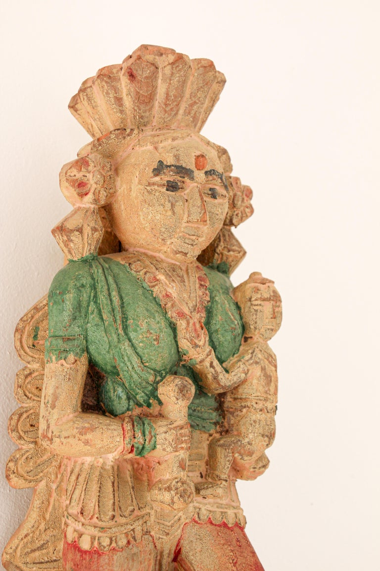 Architectural Hand Carved Wood Temple Sculpture of Mother and Child from India For Sale 5