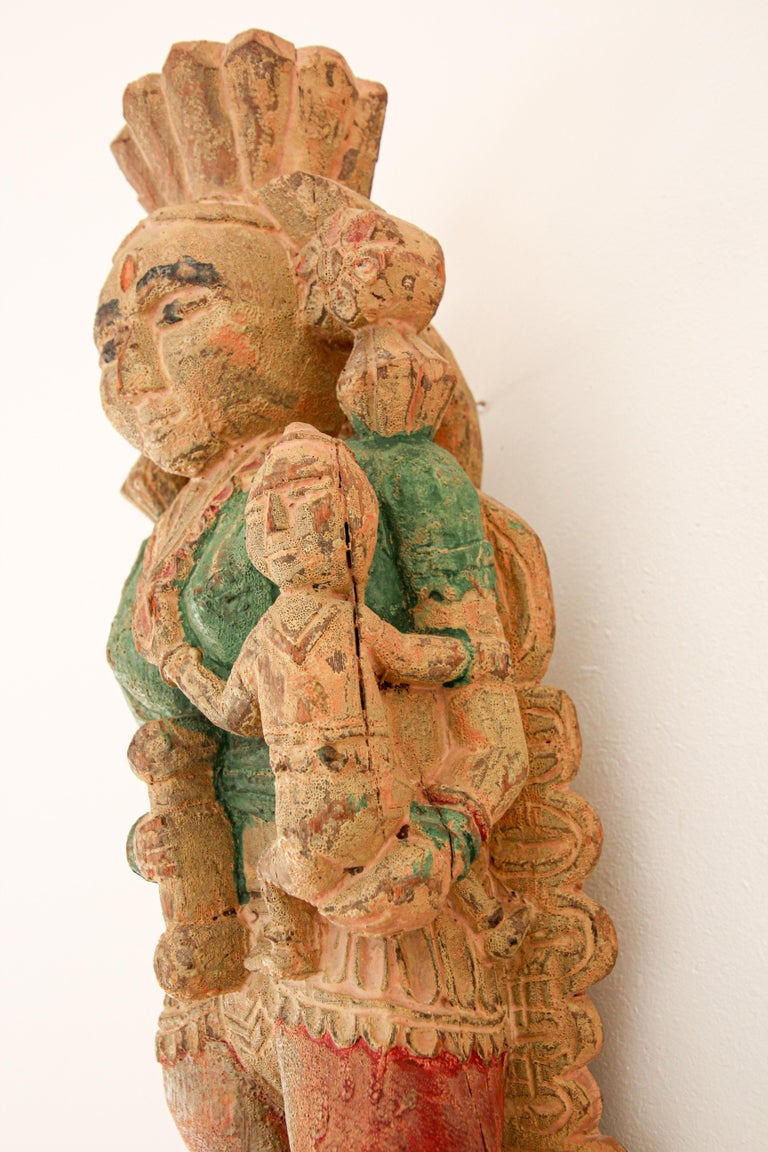 Architectural Hand Carved Wood Temple Sculpture of Mother and Child from India For Sale 7