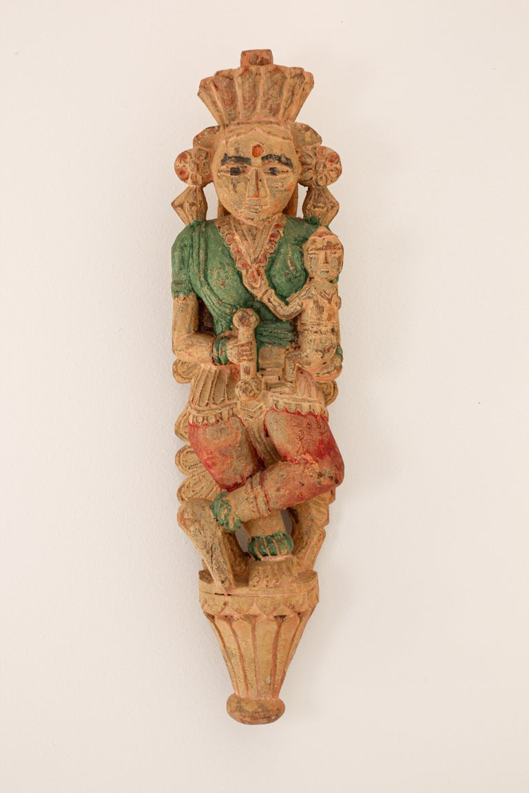 Architectural Hand Carved Wood Temple Sculpture of Mother and Child from India For Sale 10