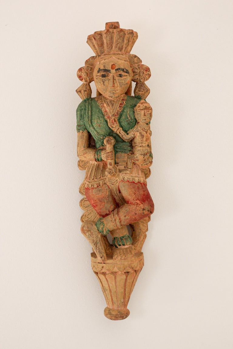 Architectural Hand Carved Wood Temple Sculpture of Mother and Child from India For Sale 11