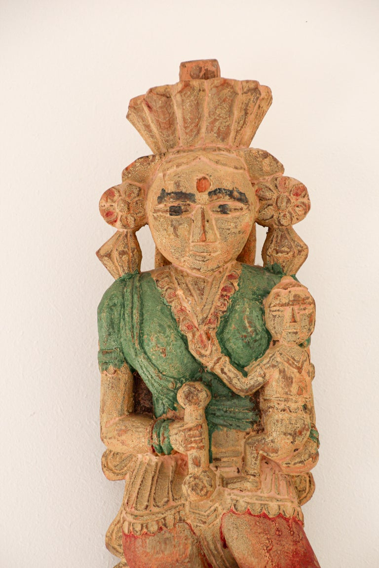 Architectural Hand Carved Wood Temple Sculpture of Mother and Child from India For Sale 12
