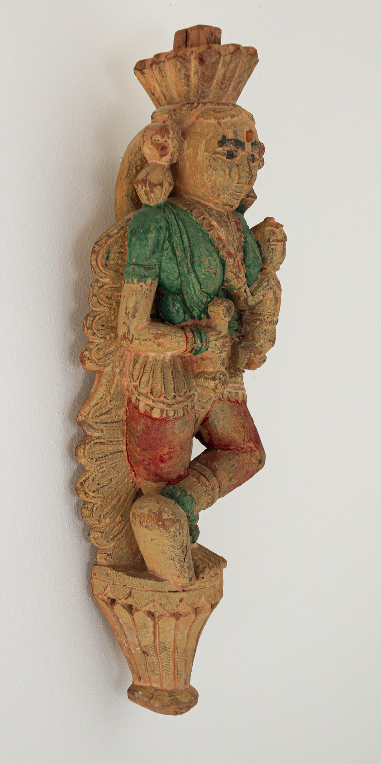 Hand-Carved Architectural Hand Carved Wood Temple Sculpture of Mother and Child from India For Sale