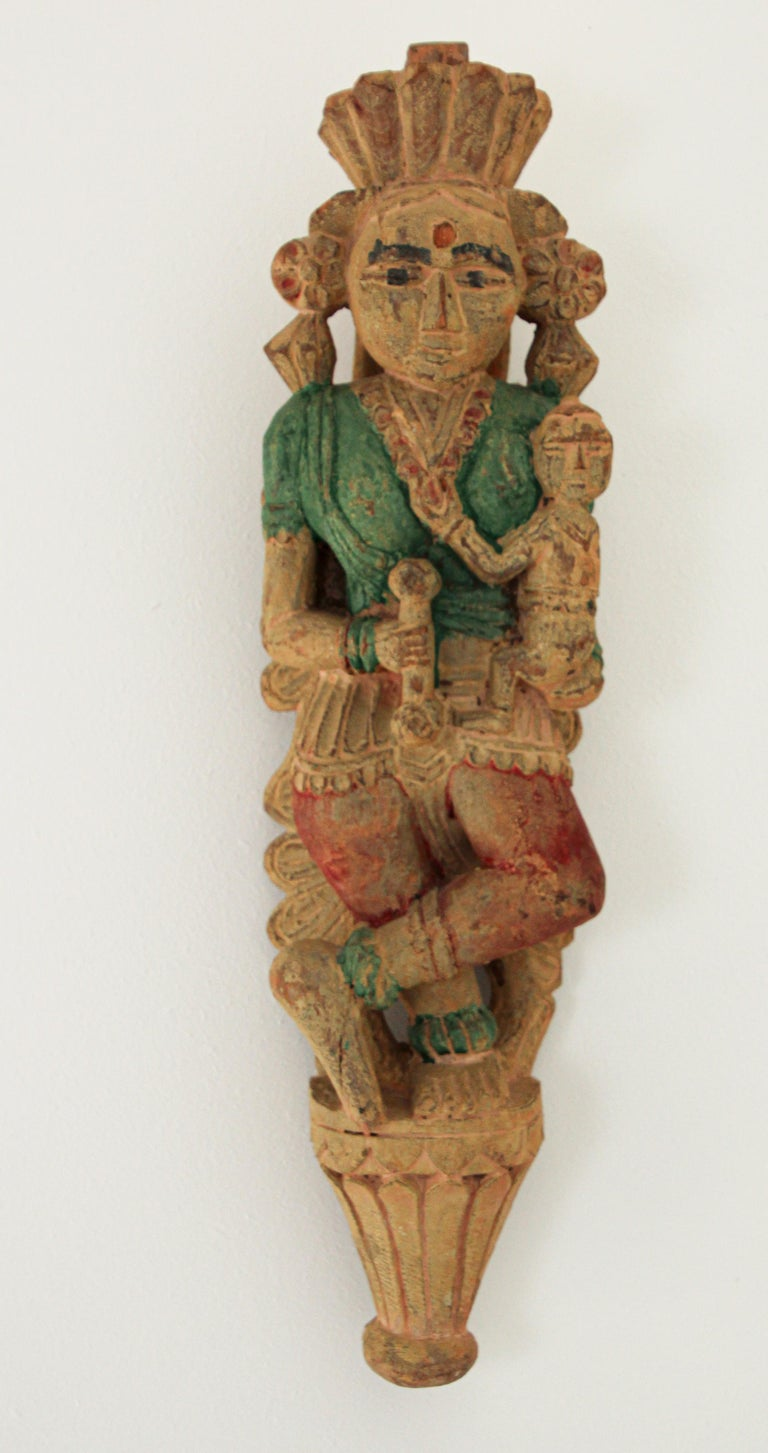 18th Century Architectural Hand Carved Wood Temple Sculpture of Mother and Child from India For Sale