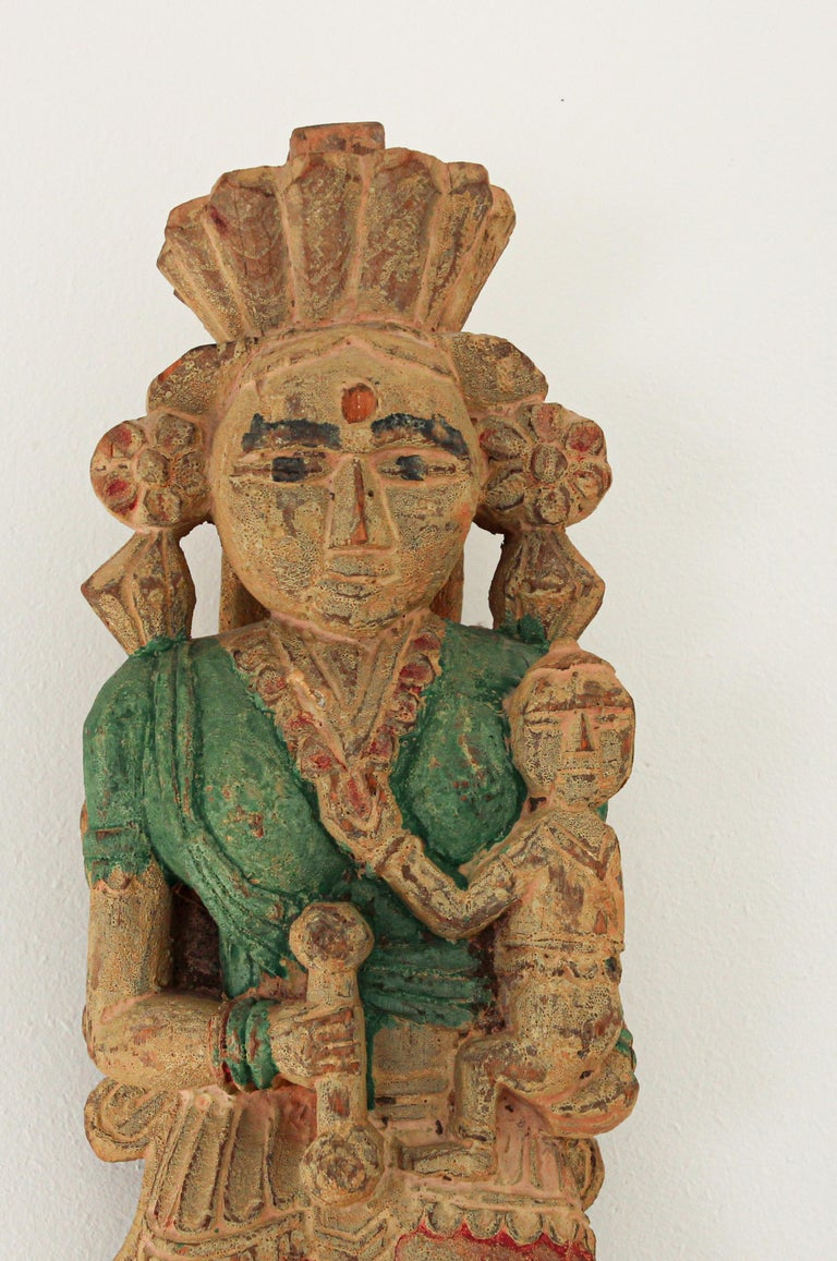 Architectural Hand Carved Wood Temple Sculpture of Mother and Child from India For Sale 1