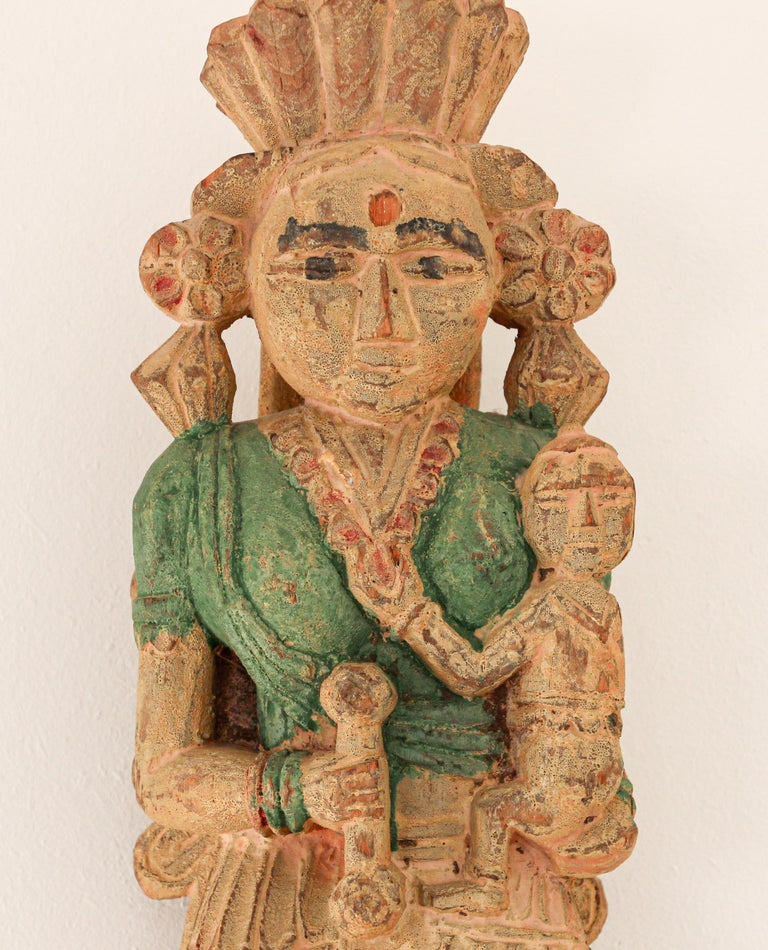 Architectural Hand Carved Wood Temple Sculpture of Mother and Child from India For Sale 2