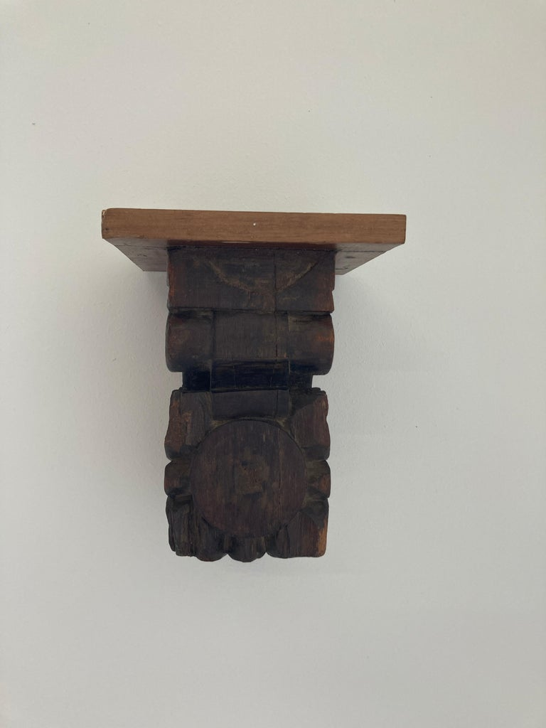Architectural Hindu Temple Carved Wood Fragment from India For Sale 8