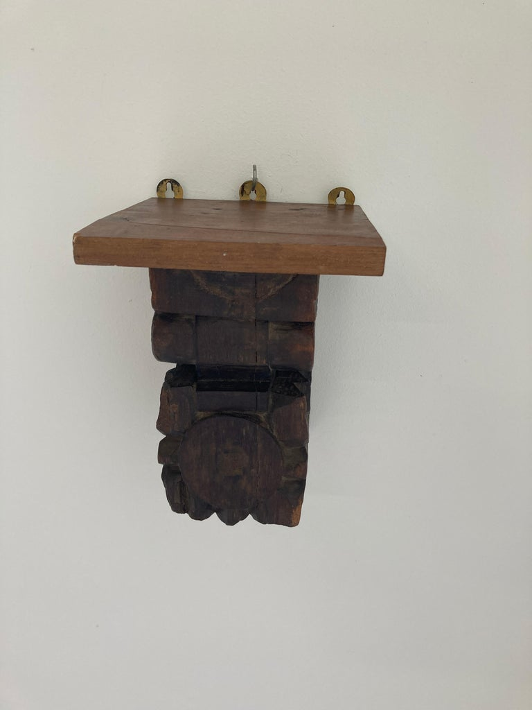 Architectural Hindu Temple Carved Wood Fragment from India For Sale 10
