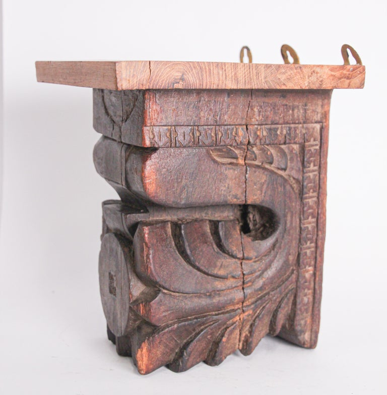 Indian Architectural Hindu Temple Carved Wood Fragment from India For Sale