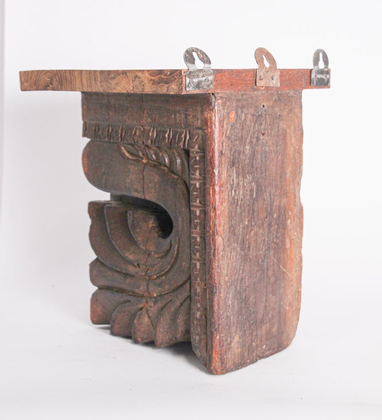 Hand-Carved Architectural Hindu Temple Carved Wood Fragment from India For Sale