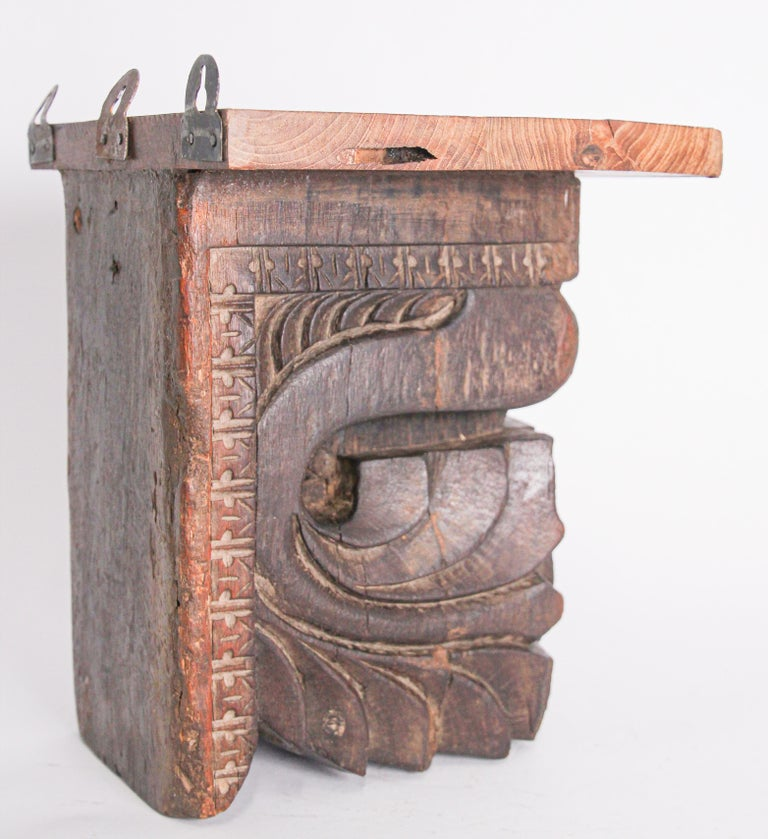 19th Century Architectural Hindu Temple Carved Wood Fragment from India For Sale