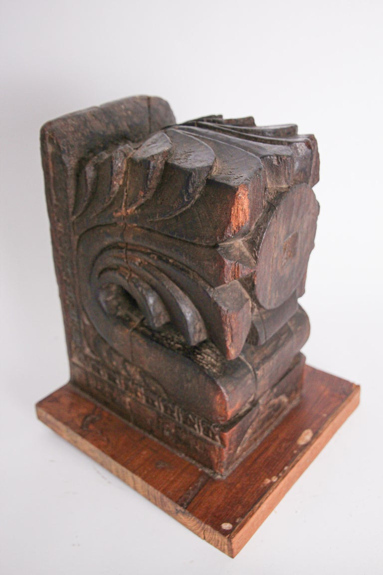 Architectural Hindu Temple Carved Wood Fragment from India For Sale 1