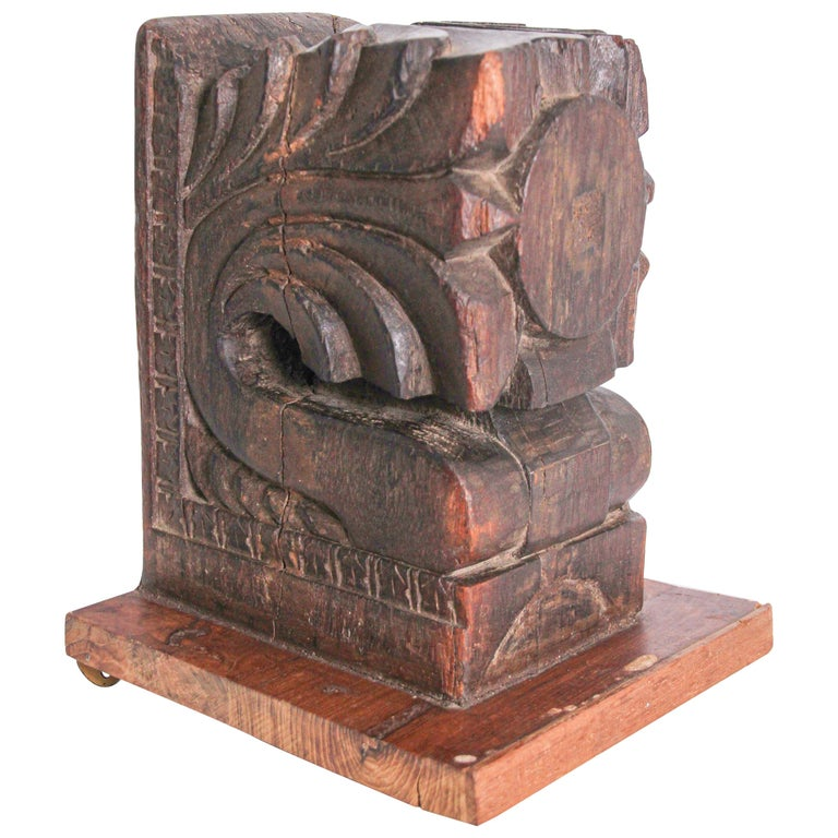 Architectural Hindu Temple Carved Wood Fragment from India For Sale