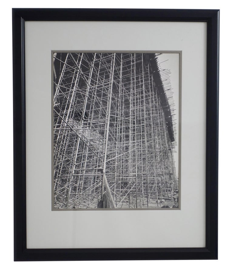 One of a kind, never published, black and white photo of Industrial architectural construction site scaffolding, unsigned. Professionally matted and framed, American, early to mid-20th century.