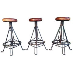 Architectural Iron and Leather Bar Stools