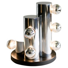 Architectural Italian Chrome Tube Table Lamp