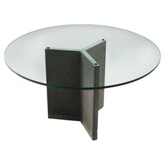 Architectural Italian Dining Table with Stone and Glass
