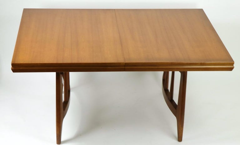 Wood Architectural Mid Century Dining Table For Sale