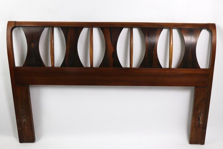 Rosewood Architectural Mid Century  Headboard Perspecta by Kent Coffey For Sale