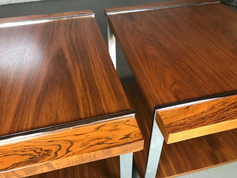 Architectural Mid-Century Modern Walnut Rosewood & Chrome End Tables by Lane  In Good Condition For Sale In St.Petersburg, FL