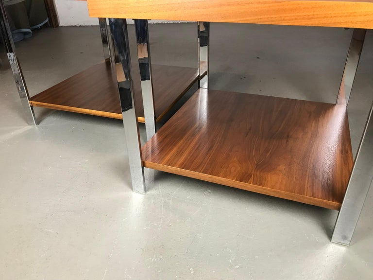 Mid-20th Century Architectural Mid-Century Modern Walnut Rosewood & Chrome End Tables by Lane  For Sale