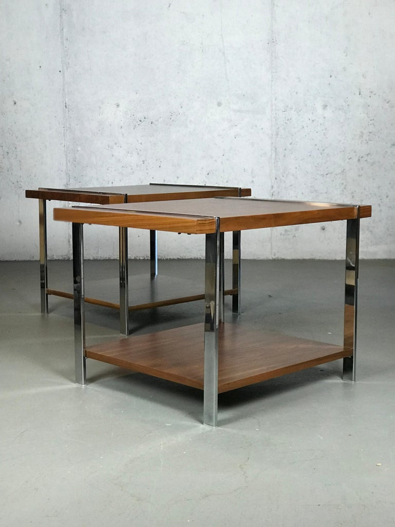 Architectural Mid-Century Modern Walnut Rosewood & Chrome End Tables by Lane  For Sale 1