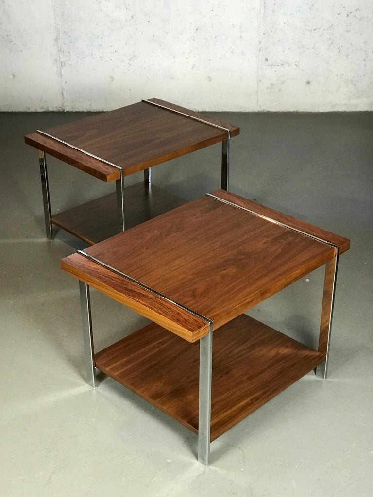 Architectural Mid-Century Modern Walnut Rosewood & Chrome End Tables by Lane  For Sale 2